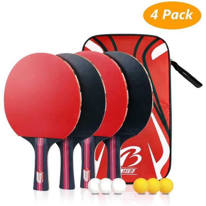 4 Pack Raquette de Ping Pong Set, Ping Pong Portable Raquette de Tennis de Table pour Débutants et Joueurs Avancés