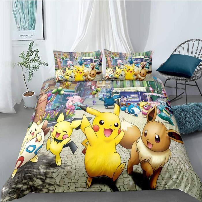 PARURE DE COUETTE - HOUSSE DE COUETTE ET TAIES Tomifine Pokemon Parure de lit avec Pikachu Motif Housse de Couette 135 x 200 cm 61