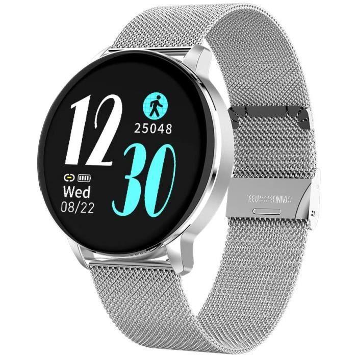 Aliwisdom Montre connectée pour Homme Femmes, Rond Smartwatch Sport Etanche Montre Intelligente métal Bracelet pour iPhone Android a