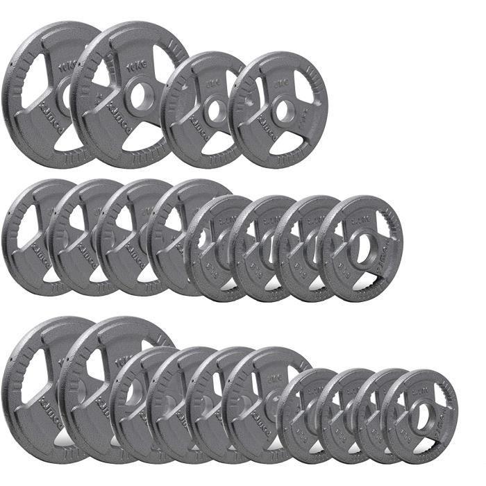356>POWRX POWRX Disque d'haltères - Poids d'haltères - Plaques Olympiques en fer - Couleur: gris argenté I 2 x 5 kParent