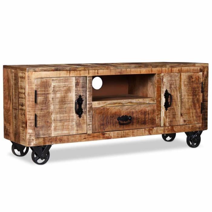 SHOP&4298Nouveau - Meuble TV Table Télévision décor - Meuble HIFI Meuble de salon Support Télévision- BANC TV Bois de manguier brut