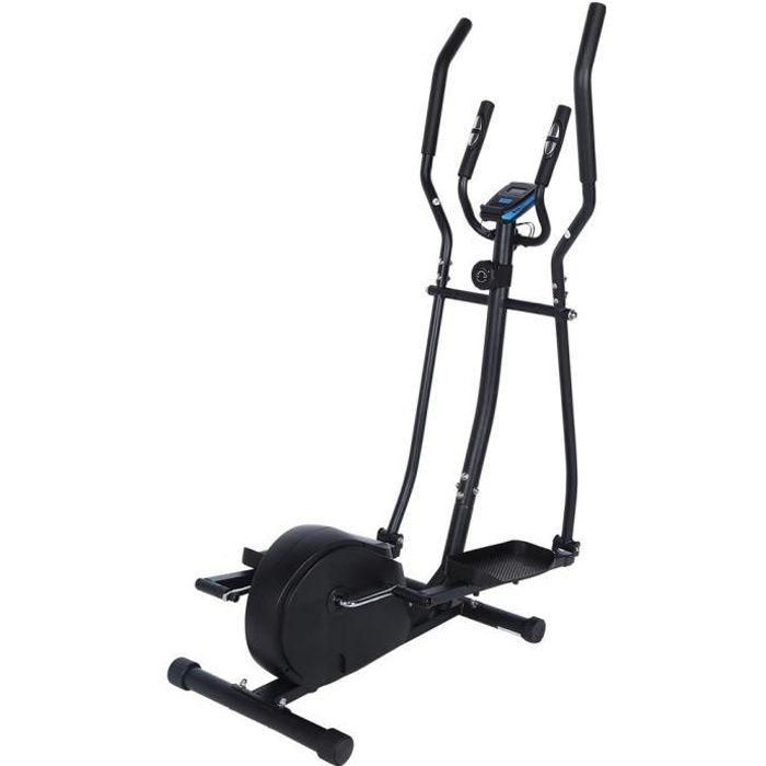 LHE Vélo elliptique,vélo d'entraînement statique et elliptique, 2 guidons, écran LCD et moniteur de fréquence cardiaque