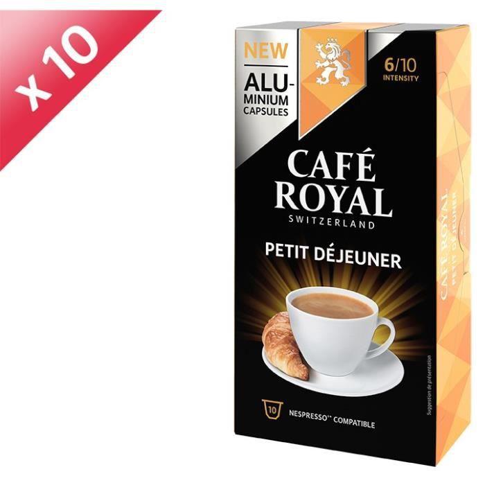 [LOT DE 10] CAFE ROYAL Café Petit Déjeuner - Compatible Nespresso aluminium - 10 capsules