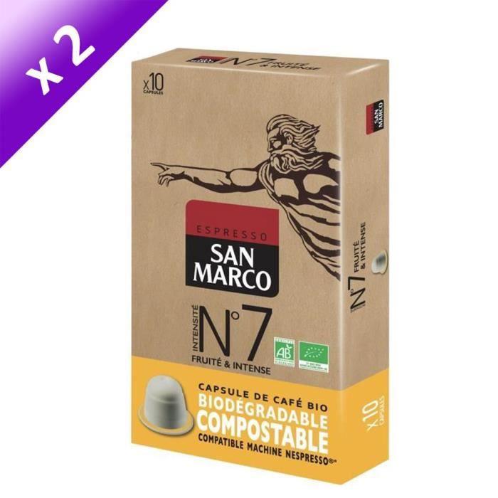 [LOT DE 2] SAN MARCO Café Moulu N° 7 Bio et Compostables - 10 capsules