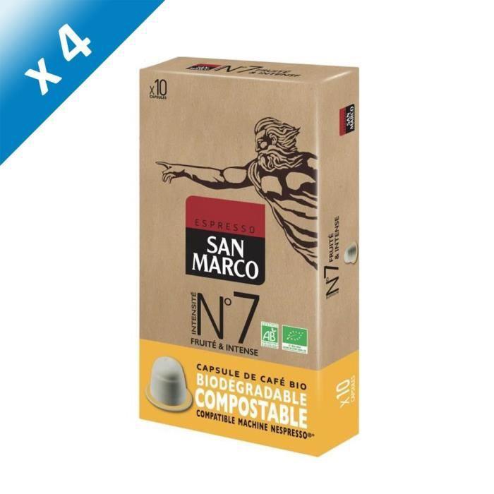 [LOT DE 4] SAN MARCO Café Moulu N° 7 Bio et Compostables - 10 capsules