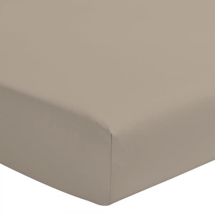 Le Drap Housse extensible - 2 Personnes 140x190 - Percale de Coton 80 Fils Matelas épais Bonnet 30cm - Beige Sable