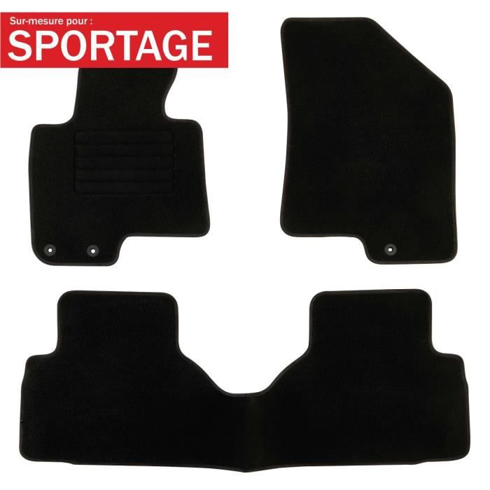 DBS - Tapis voiture / auto - Sur Mesure pour SPORTAGE (2010 - 2015) - 3 pièces - Antidérapant - Moquette Classic