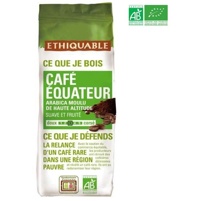 ETHIQUABLE Café moulu Arabica Equateur Bio - 250 g