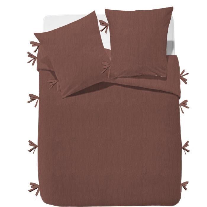 FINLANDEK Parure de couette Rachelle - 100% coton lavé - 240 x 260 cm - Marron terracotta