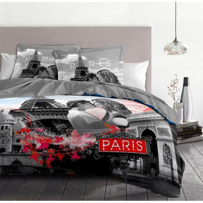 Housse de Couette 3 Pièces - 100% Coton 57 Fils - 2 Personnes 220x240 cm - PARIS Gris