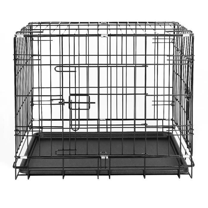 JEOBEST® 2 Portes Cage pour chien pliable et transportable avec Poignée et Plateau - 75 x 47 x 53 cm