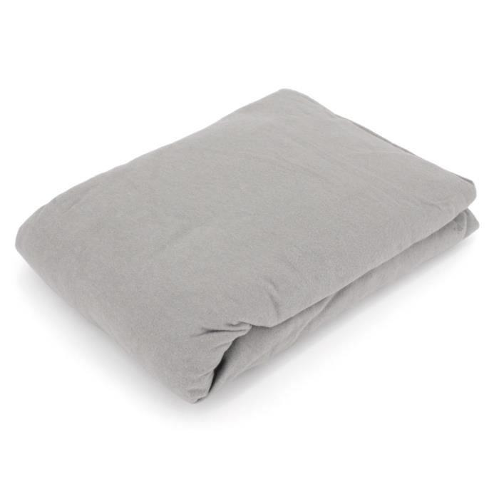 Drap housse flanelle unie 140x190 cm 100% coton WALES gris Gris
