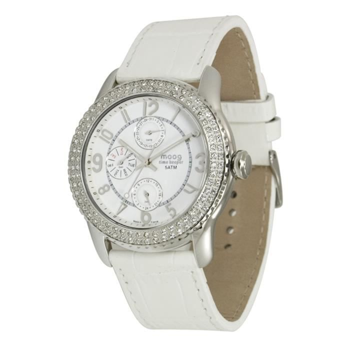 Montre Femme Moog Paris Time Keeper avec Cadran Blanc, Eléments Swarovski, Bracelet Blanc en Cuir Véritable - M44732-001