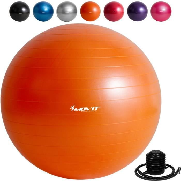 MOVIT Balle de gymnastique orange, 75 cm avec pompe