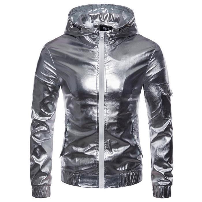 Blouson à Capuche Manche Longue Homme Sweat-Shirt Sport Moto Veste Jacket Punk Brillant Casual Automne Hiver