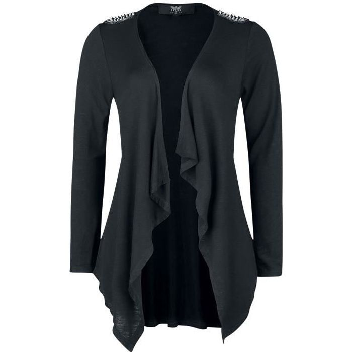 Black Premium by EMP Schwarzer Offener Cardigan mit Nieten Femme Cardigan noir