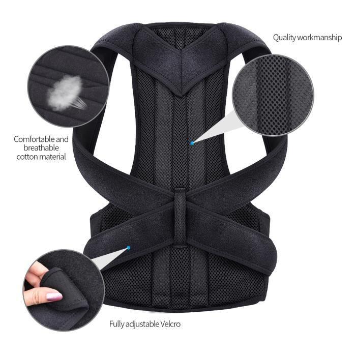 CEINTURE - BOUCLE DE CEINTURE,2020 réglable taille arrière Posture correcteur adulte Correction ceinture taille - Type Black-S