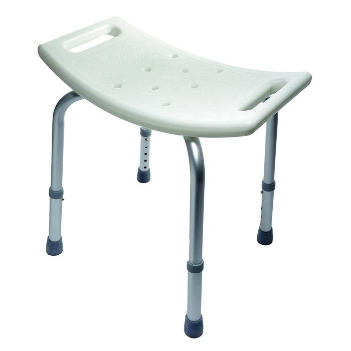 Tabouret de bain rectangulaire Aluminium NOVOLIFE - Assise réglable en hauteur de 35 à 46 cm