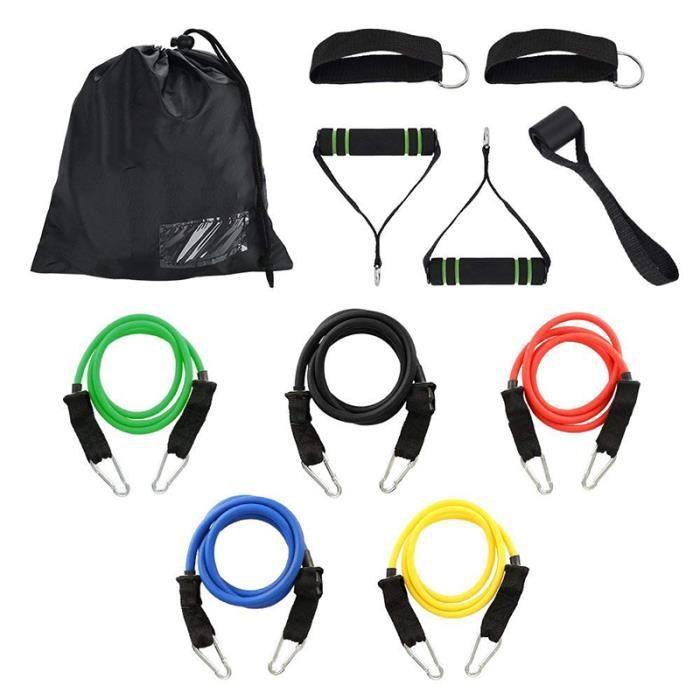 Bandes de Resistance Elastiques Musculation Set, Bandes Yoga de Résistance, Latex Fitness Exercice Bands Kit avec Ancre Fitness