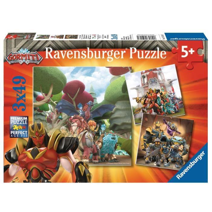 GORMITI Puzzles 3x49 pièces - Le Bien contre le Mal - Ravensburger - Lot de puzzles enfant - Dès 5 ans