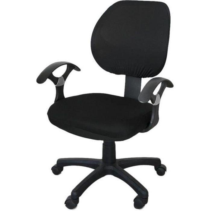 Bureau séparés Housse de Chaise,Fauteuil pivotant Fauteuil Black Chair Cover(Une housse de chaise)