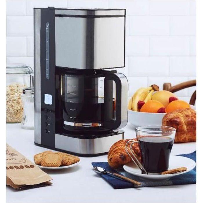 SIMEO Cafetière Filtre Programmable 12 Tasses Inox brossé CFP200