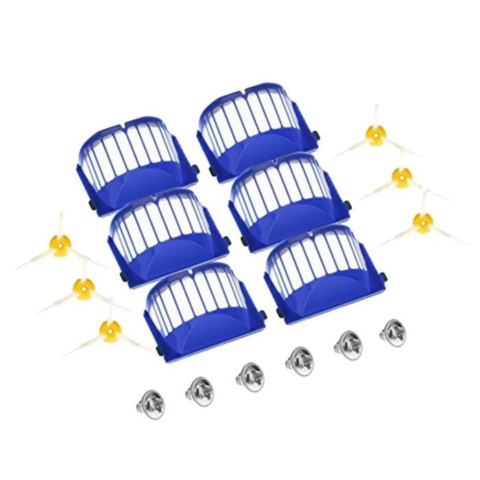Brosses laterales de filtres Kit de pieces de rechange avec vis pour iRobot Roomba 600 Series Aspirateurs Robots 610 620 627 630 650