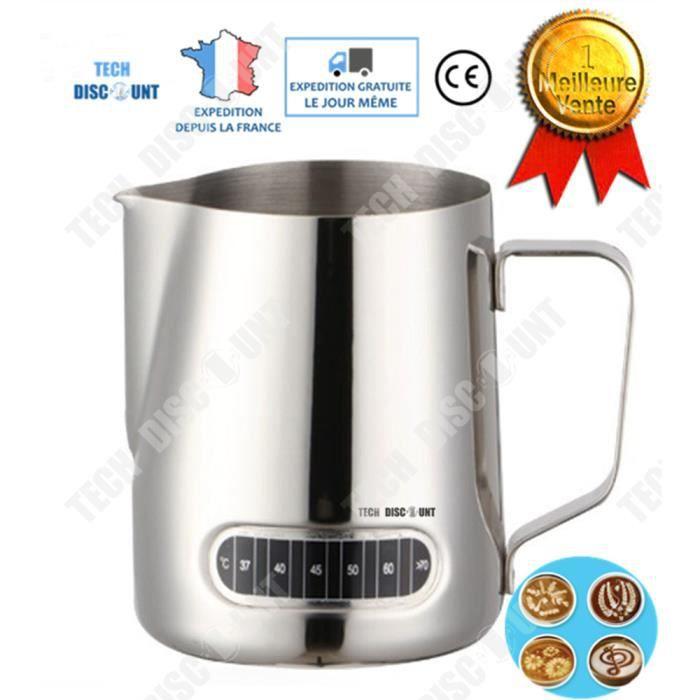 TD® Pichet inox isotherme lait doseur verre lait café jus tasse mesureur carafe eau whisky vin design résistant poignée confortable
