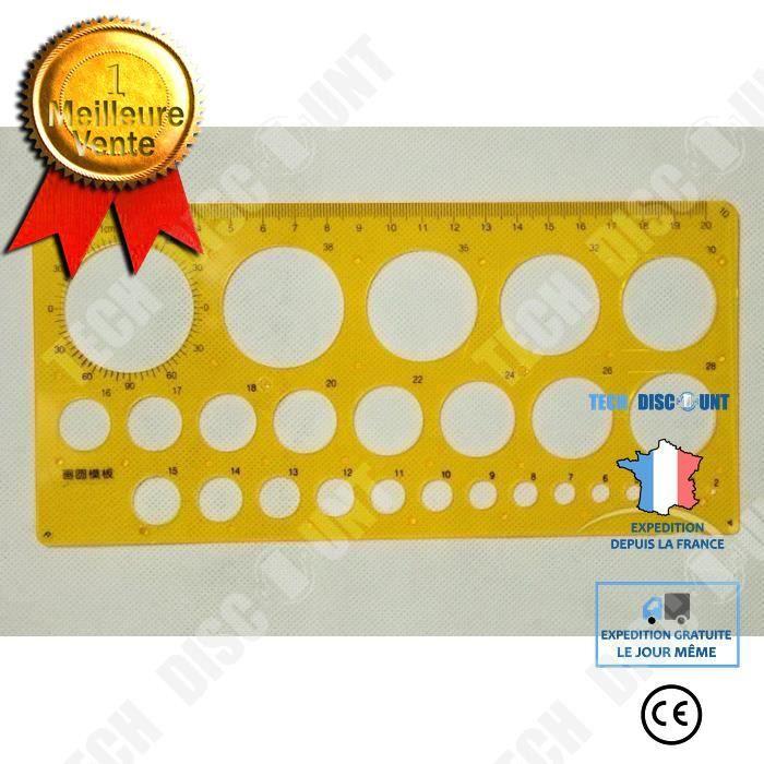 TD® Règle multi fonctions usage artistique scolaire fourniture scolaire artistique accessoire de création couleur jaune longueur 20c