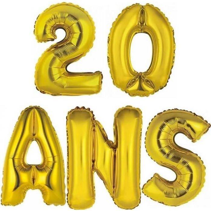 1 Kit Ballon aluminium anniversaire or 20 ANS