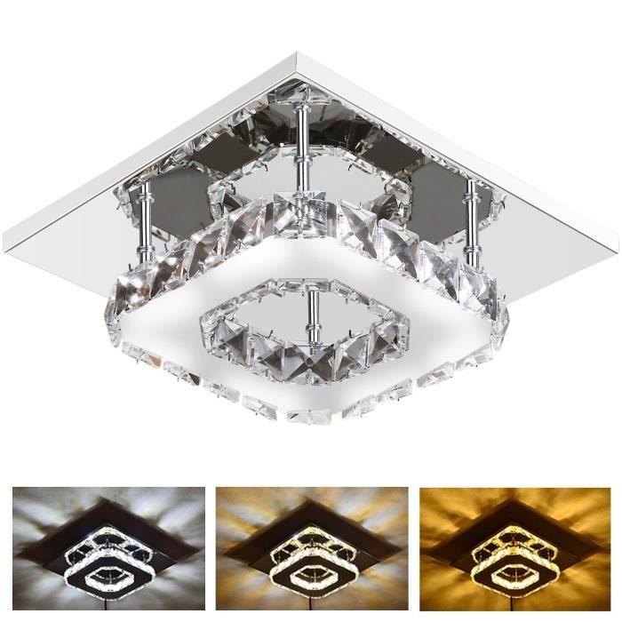 Plafonnier LED Lampe de Plafond Cristal Lustre Miroir 12W Réglable en 3 Couleurs pour Salon, Chambre à coucher, Salle de bain