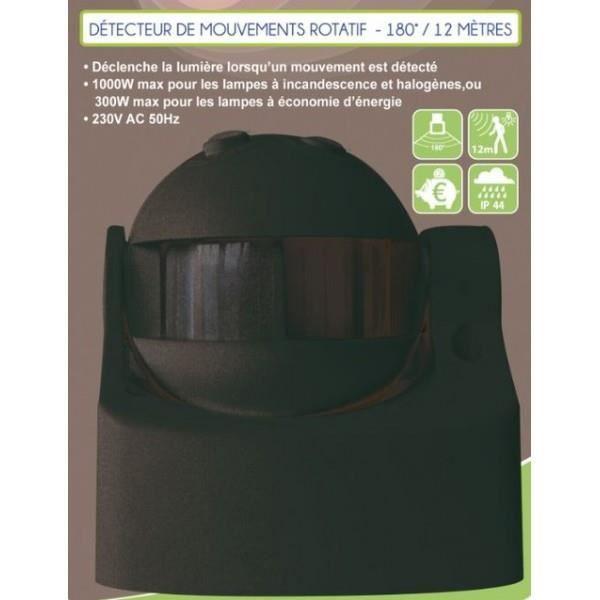 VOLTMAN Détecteur de mouvement infrarouge rotatif 180° - Noir