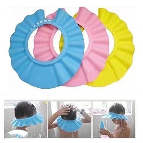 Visière Bain Bébé Douche Casquette Anti Shampoing Enfant Bonnet Protection Yeux 3pcs (Bleu,Rose,Jaune)