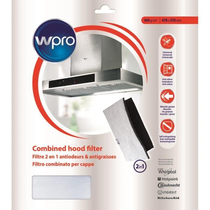 WPRO UCF016 Filtre universel à graisse et à charbon 2 en 1. Dim 470x570 mm. 450g/m2