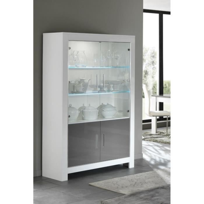 vitrine modena 2 portes blanc gris laque achat vente. Black Bedroom Furniture Sets. Home Design Ideas