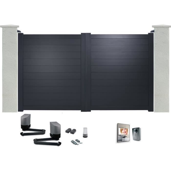 portail battant en aluminium yel gris 3m motoris autour du portail interphone achat. Black Bedroom Furniture Sets. Home Design Ideas