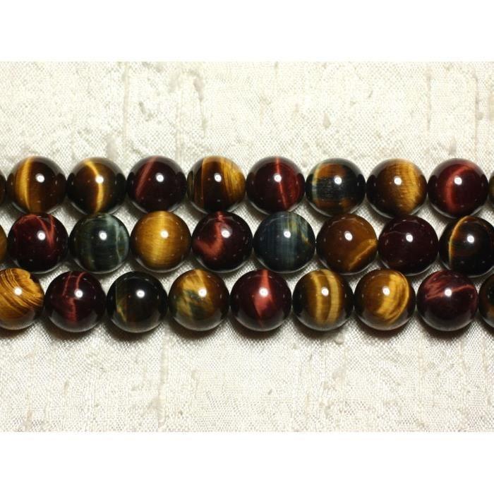 Perles de Pierre Oeil de Taureau Boules 12mm Fil de 39 cm