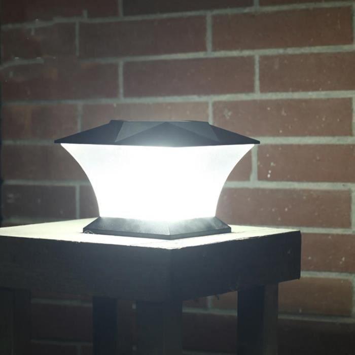 LED Solaire Lampe Pilier Jardin Colonne Exterieur lumière blanche