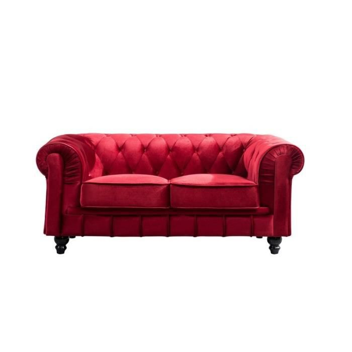 canap 2 place chesterfield tissu velours rouge achat. Black Bedroom Furniture Sets. Home Design Ideas