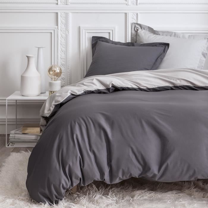 housse de couette percale bicolore gris anthracite gris clair 220x240 cm achat vente housse. Black Bedroom Furniture Sets. Home Design Ideas
