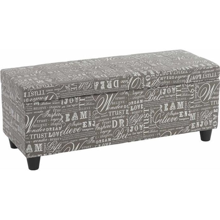 banc banquette coffre de rangement kriens 112x45x45cm tissu gris words fabric achat vente. Black Bedroom Furniture Sets. Home Design Ideas