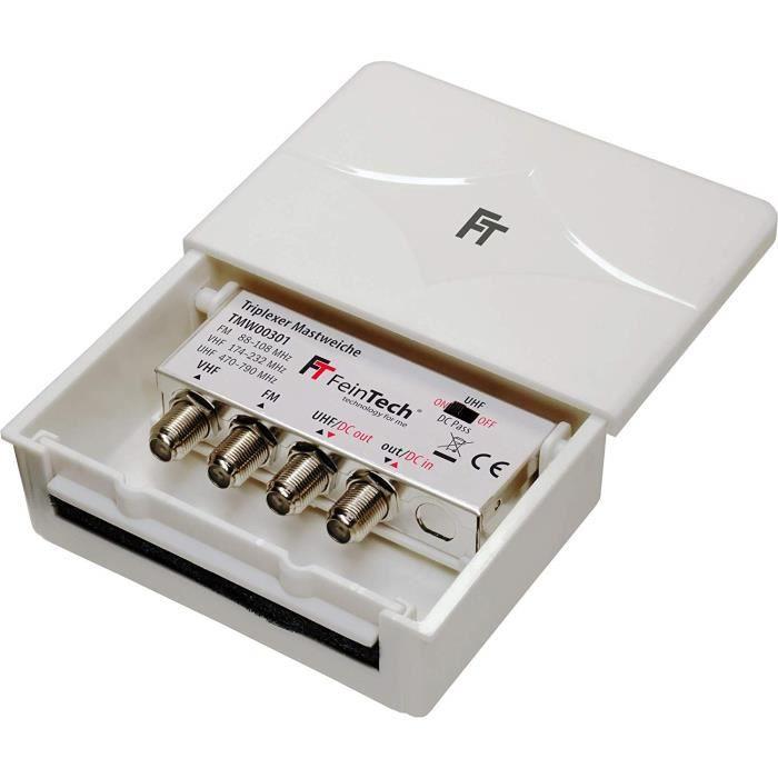 Adaptateur FM Dab TNT FeinTech Antenne Radio T/élescopique avec Prise IEC