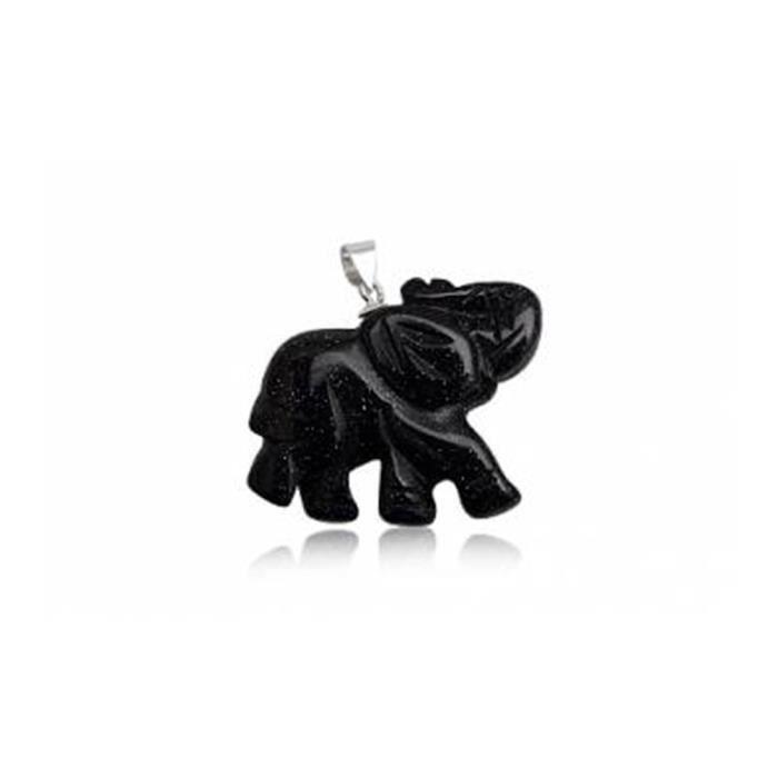 PENDENTIF VENDU SEUL Pendentif Eléphant Femme en Gemstone Grès Noir et