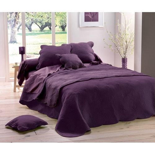 Couvre Lit Boutis Prune 2 Housses Coussin Achat