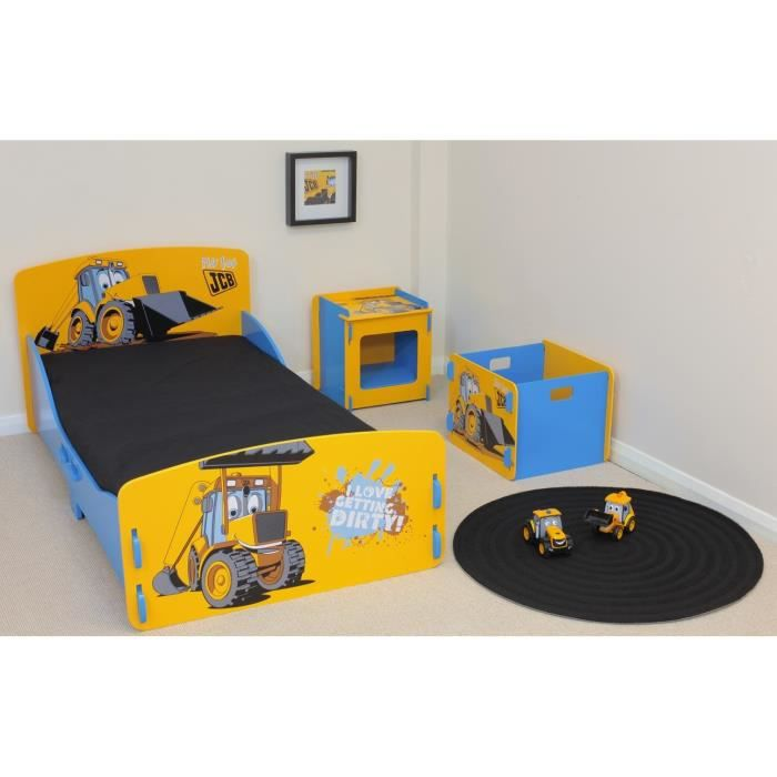 jcb ensemble lit enfant avec sommier coffre chevet contemporain laqu jaune et bleu l 85 x. Black Bedroom Furniture Sets. Home Design Ideas