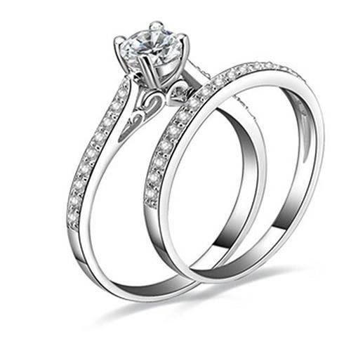 Fashion Anneaux De Mariage Pour Femmes Argent 925 Bijoux SAPHIR BLEU taille 6-10