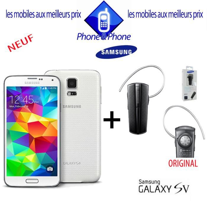 samsung galaxy s5 blanc neuf kit achat smartphone pas. Black Bedroom Furniture Sets. Home Design Ideas
