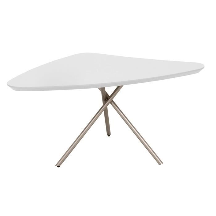 Table basse triangulaire young blanche achat vente for Table a manger triangulaire