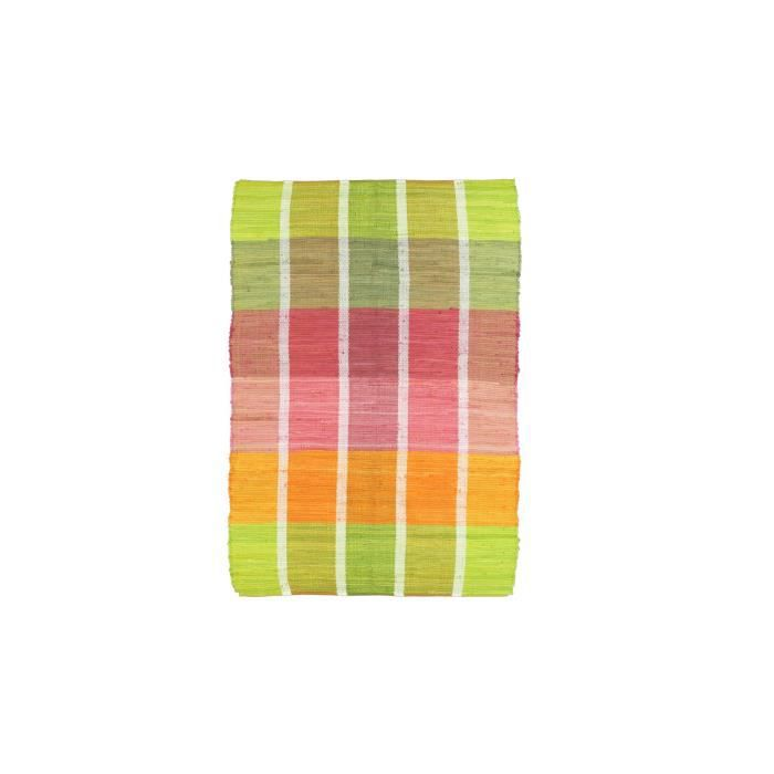 Tapis cuisine madras vert orange debonsol achat vente for Tapis de cuisine orange