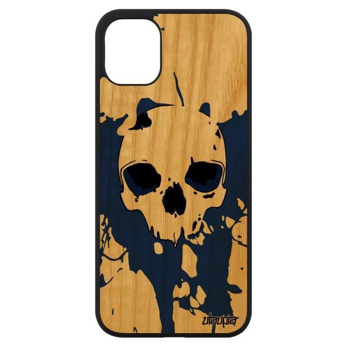 Coque iPhone 11 bois silicone tete de mort crane p